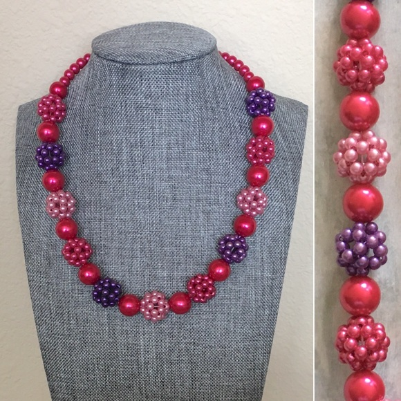Raspberry Wood Beaded Statement Necklace with Pendant